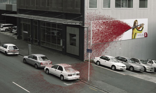 Kill Bill blood spray advertisement